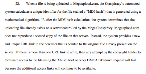Paragraph 22 Megaupload Indictment