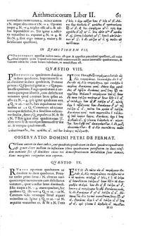 El último teorema de Fermat en la Aritmética de Diofanato