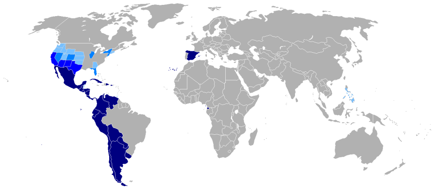 Mapa de hispanohablantes en el Mundo